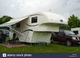 Roll Out Awning For Campervan Fifth 5th Wheel Co Trailer Caravan Roll Out Awning Stock Photo