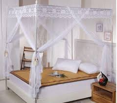 Lace Bed Canopy Lace 4 Corners Post Bed Canopy Mosquito Net For Cal