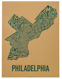 Chicago Neighborhood Map Poster by Amazon Com Philadelphia Neighborhoods Map Tan U0026 Teal 18