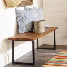 rustic wood and metal bench shades of light