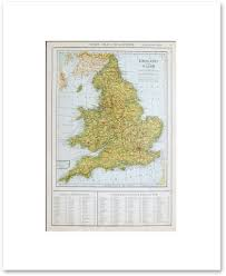 England Map Cities by Countries Europe Vintage Maps