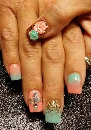 day 29 mint u0026 peach nail art nails magazine