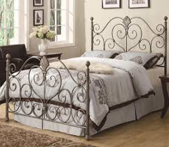 appealing wrought iron queen bed vintage romantic at headboard