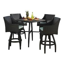 Patio Bar Height Table And Chairs by Rst Brands Deco 5 Piece All Weather Wicker Patio Bar Height Dining