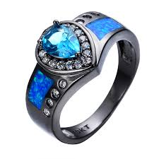 opal stones rings images Online shop ocean blue fire opal stone ring heart light blue stone jpg