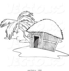 island coloring page vector of a cartoon tropical hut on an island outlined coloring