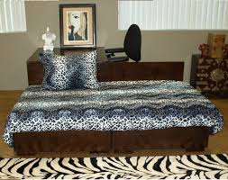 bedroom awesome brown leather daybed with white black leopard