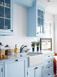light blue kitchen cabinets colors with white apron sink in the