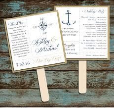 wedding program fans kit nautical compass anchor program fans kit printing included