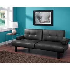 Tufted Faux Leather Sofa Convertible Tufted Faux Leather Small Space Room Sleeper Sofa