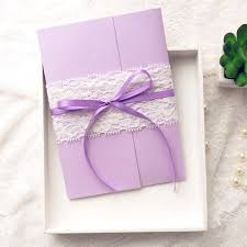 exquisite purple butterfly ribbon lace pocket wedding invitations