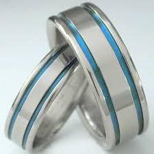 blue titanium wedding band matching blue titanium wedding band set stb5 titanium rings studio