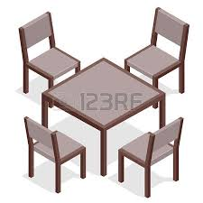round table with chairs four black chairs and blue round table flat isometric wood
