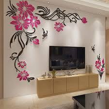 beautiful diy home decor large tv background wall decorations beautiful flower vine acrylic