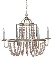 French Country Wooden Chandeliers Sonya French Country Wood Beaded Swag Silver Leaf Chandelier Wood