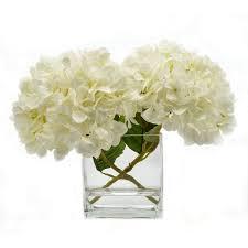 hydrangea white faux white hydrangea in glass vase birch