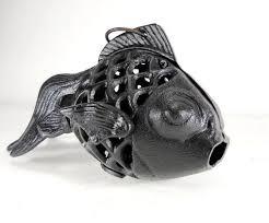 metal fish ring holder images Brown cast iron fish candle holder goldfish lamp lantern hanging jpg