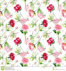 flower wrapping paper seamless pattern with pink peonies leaves stock
