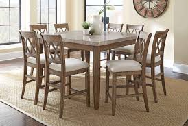 9 pc dining room set franco 9 piece 54 inch square counter height table w marble top