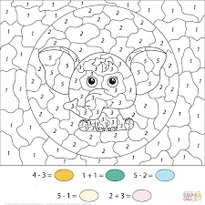 subtration and addition a cute cartoon elephant color by number