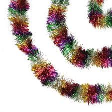 tinsel garland 50 festive shiny rainbow colored christmas foil tinsel garland