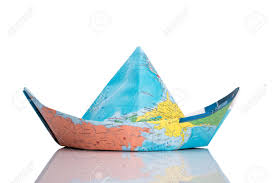 Map Paper Paper Boat Made Of Map Isolated On White Stock Photo Picture And