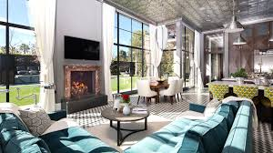 25 million dollar art deco style estate see this house living room mansion art deco turquoise sofa black and white tile floor picture windows kristoffer winters
