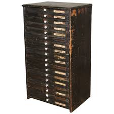 wooden flat file storage cabinet vintage industrial multi drawer
