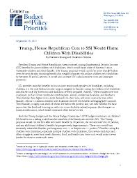 trump house republican cuts to ssi would harm children with