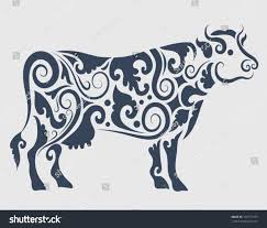 cow ornament vector cow drawing floral stock vector 109771373