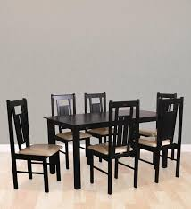 Six Seater Dining Table And Chairs Buy Momoko Six Seater Dining Set In Walnut Finish By Mintwud