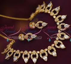 gold stones necklace designs images Nl7100 white american diamond sparkling stones gold design JPG