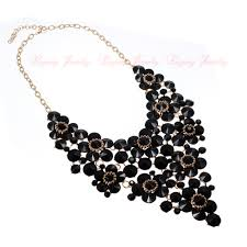 bib necklace black images Fashion black chain chain crystal acrylic choker statement pendant jpg