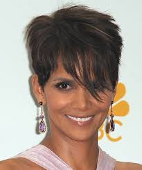 back view of halle berry hair halle berry short straight casual hairstyle with side swept bangs