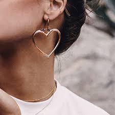 hoops earrings aomu new gold color big heart hoops earrings for women
