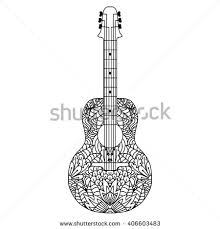 drawn guitar doodle pencil and in color drawn guitar doodle
