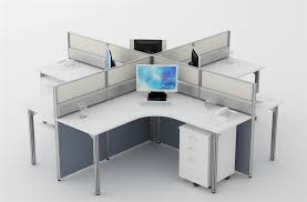Office Desk System Cluster Of 4 Workstation For Office Furniture