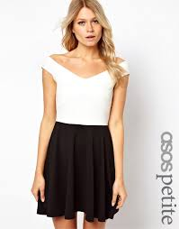 asos petite asos petite off the shoulder skater dress in mono