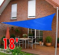 Sail Canopy For Patio Gym Equipment 18 U0027 Triangle Outdoor Patio Sun Shade Sail Canopy Blue