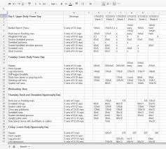 Workout Excel Template Excel Templates Printable Excel Templates With Ss