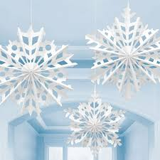 White Christmas Party Decorations by 3 White Christmas Snowflake Paper Fan Decorations Light Blue