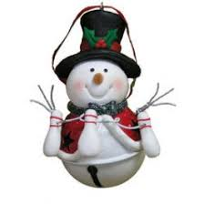 hat jingle bell snowman ornament