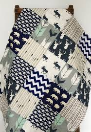 Modern Baby Boy Crib Bedding by Baby Quilt Boy Moose Bow And Arrow Stag Idealpin