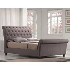 Full Size Sleigh Bed Emerald Innsbruck Queen Contemporary Button Tufted Upholstered
