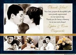 wedding thank you cards gold ivory wedding thank you cards five photo wedding thank you