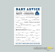 baby shower advice cards baby shower advice cards mad libs sail boats
