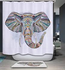 India Shower Curtain Mandala India Elephant Pattern Polyester Waterproof Shower Curtain