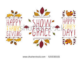 set thanksgiving elements handsketched typographic elements stock