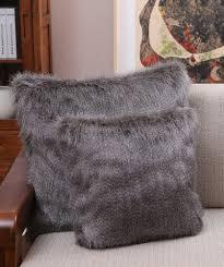 Faux Fur Throw Pillow Japanese Kanekalon Fiber Faux Fur Brown Lamb Fur Pillow Cushion