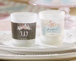 candle favors personalized frosted glass votive rustic bridal shower candle